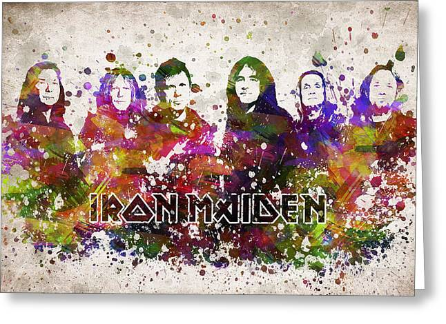 Iron Maiden Greeting Cards - Iron Maiden in Color Greeting Card by Aged Pixel