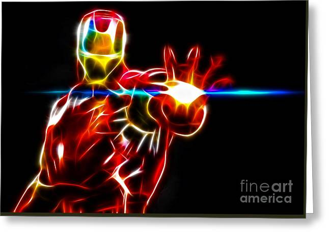 Movie Art Mixed Media Greeting Cards - Iron Man About To Disintegrate You Greeting Card by Pamela Johnson