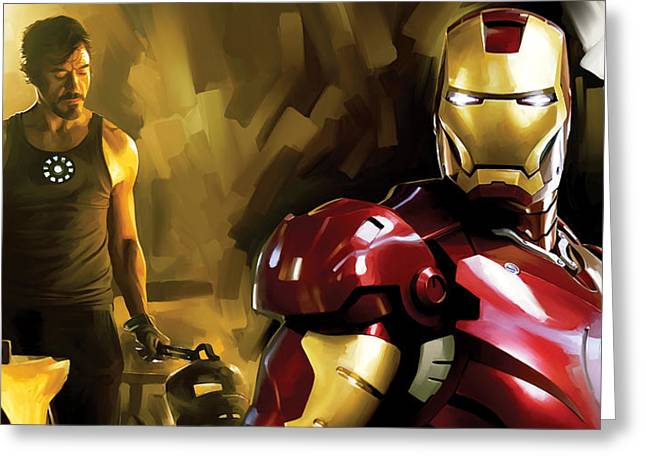 Movie Art Mixed Media Greeting Cards - Iron Man Artwork Greeting Card by Sheraz A