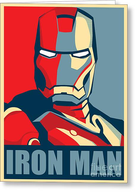 Geometric Artwork Greeting Cards - Iron Man Greeting Card by Caio Caldas