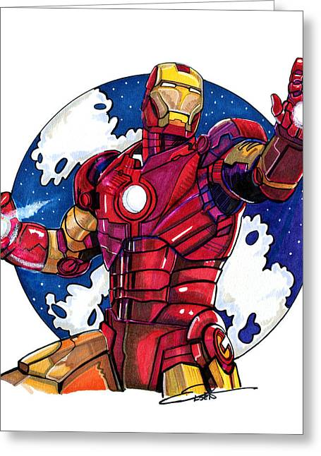 Iron Drawings Greeting Cards - Iron Man Greeting Card by Dave Olsen