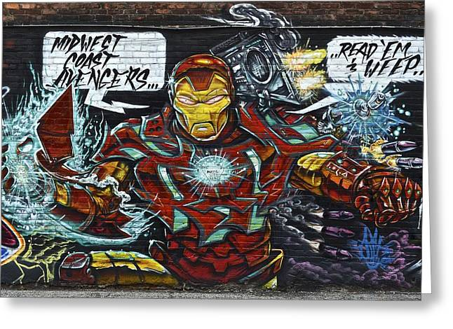Captain America Photographs Greeting Cards - Iron Man Graffiti Greeting Card by Frozen in Time Fine Art Photography