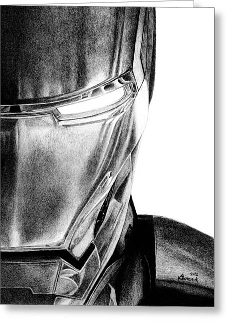 Graphite Greeting Cards - Iron Man - Half of the Iron Greeting Card by Kayleigh Semeniuk