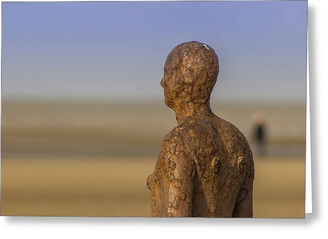 Crosby Greeting Cards - Iron man of Crosby Beach Greeting Card by Paul Madden
