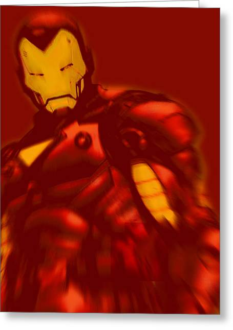 Empower Mixed Media Greeting Cards - Iron Man Pop Crop Red Greeting Card by Tony Rubino