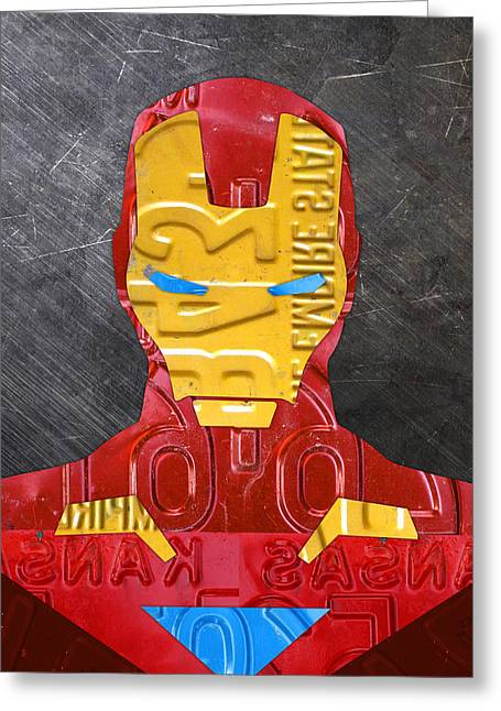 Iron Man Superhero Vintage Recycled License Plate Art Portrait Greeting Card by Design Turnpike