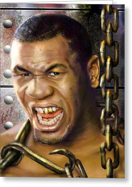 Super Stars Greeting Cards - Iron Mike Tyson-No Blood No Glory 1a Greeting Card by Reggie Duffie