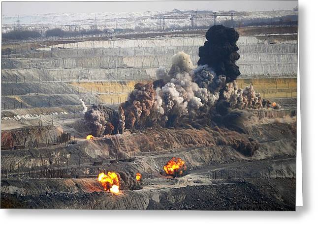 Blast Greeting Cards - Iron ore mining Greeting Card by Science Photo Library
