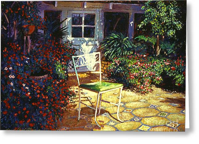 Impatiens Flowers Greeting Cards - Iron Patio Chair Greeting Card by David Lloyd Glover