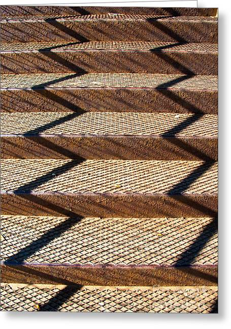 Grate Greeting Cards - Iron Stairway Sunlight Patterns Greeting Card by Gary Whitton