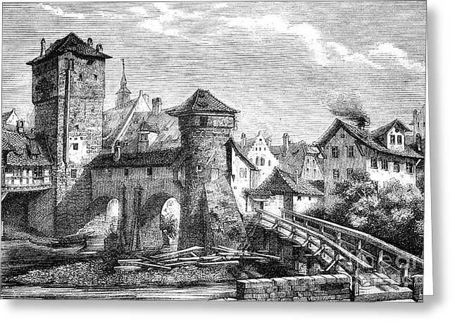European Artwork Greeting Cards - Iron Tower, Nuremberg, 1880s Greeting Card by Bildagentur-online