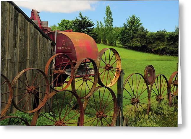Iron Wheels, Dahmen Barn, Uniontown Greeting Card by Michel Hersen