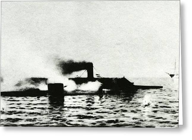 Ironclad Warships In Combat Greeting Card by Us Navy/naval History And Heritage Command