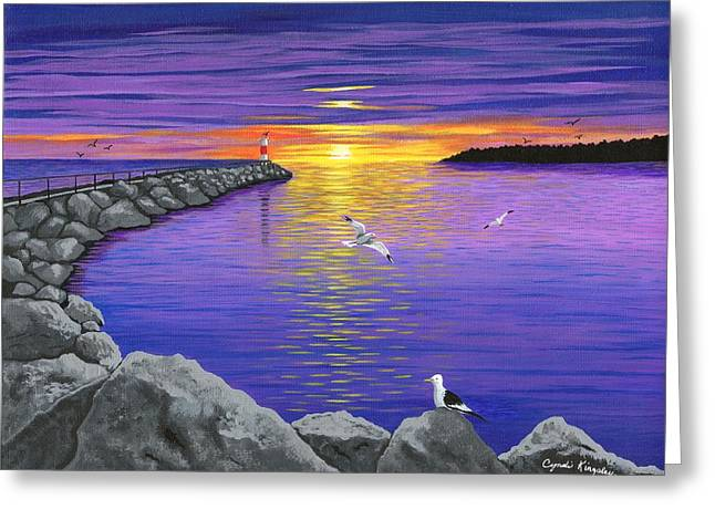 Cyndi Kingsley Greeting Cards - Irondequoit Pier Lighthouse at Sunrise Greeting Card by Cyndi Kingsley