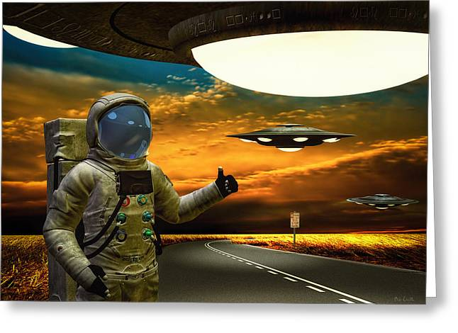 Outer Limits Greeting Cards - Ironic Number Four - Hitchhiker Greeting Card by Bob Orsillo
