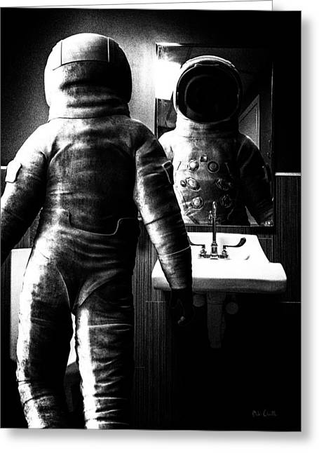 Outer Limits Greeting Cards - The Astronaut and The Bathroom Greeting Card by Bob Orsillo