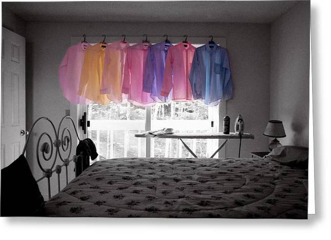 Washlines Greeting Cards - Ironing Adds Color to a Room Greeting Card by Wayne King