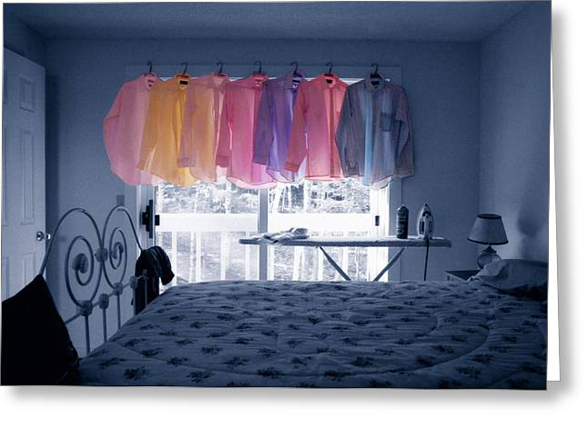 Washlines Greeting Cards - Ironing Use to Make Me Blue Greeting Card by Wayne King