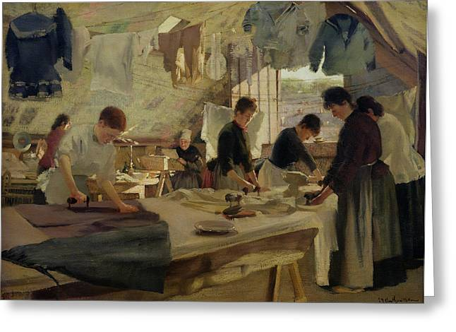 Apron Greeting Cards - Ironing Workshop in Trouville Greeting Card by Louis Joseph Anthonissen
