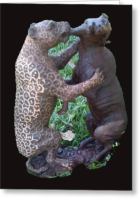 Animal Sculpture Sculptures Greeting Cards - Ironwood Greeting Card by Bernard Ncube