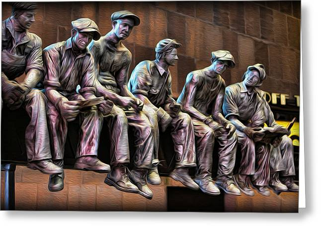 Fabrication Greeting Cards - Ironworkers Having Lunch II Greeting Card by Lee Dos Santos