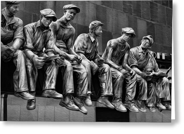 Taking A Break Greeting Cards - Ironworkers Having Lunch Greeting Card by Lee Dos Santos