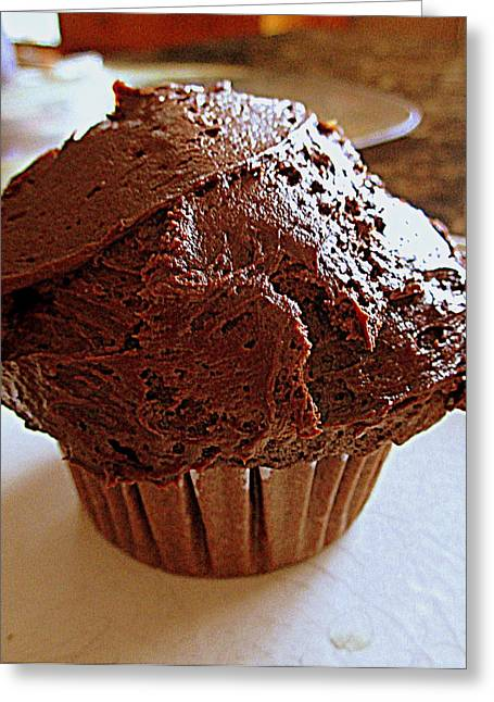 Bakery Poster Greeting Cards - Irresistible Chocolate Cupcake Greeting Card by Kay Novy
