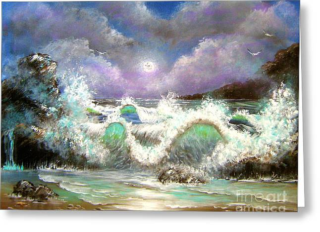 Moon Beach Greeting Cards - Irresistible Force  Greeting Card by Patrice Torrillo