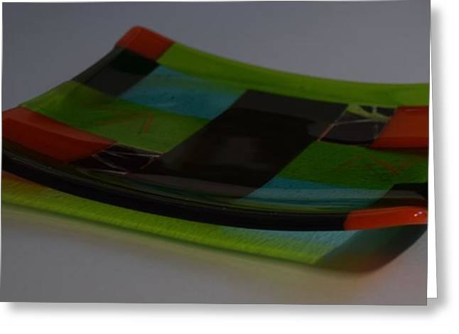 Lines Glass Art Greeting Cards - Irridescent Dish Greeting Card by Rosalind Duffy