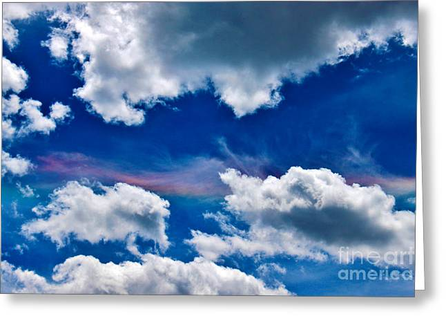 Irridescent Rainbows Among The Clouds Greeting Card by Janice Rae Pariza