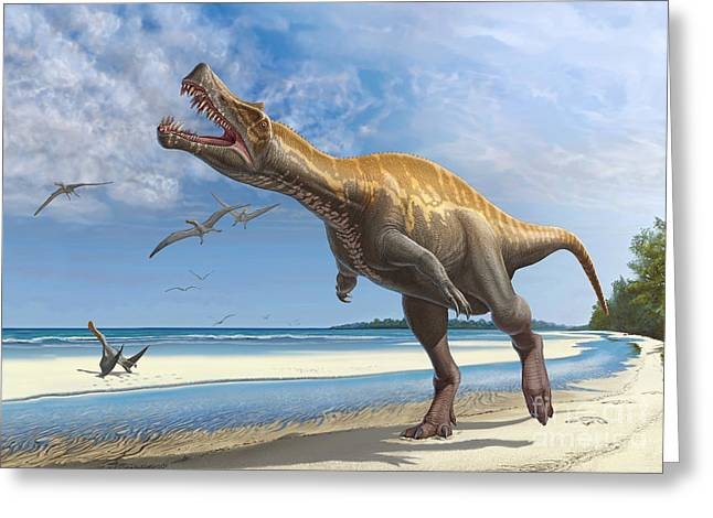Bird Footprints In The Sand Greeting Cards - Irritator Challengeri Lets Out A Loud Greeting Card by Sergey Krasovskiy