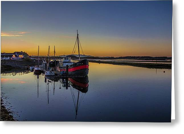 Gloaming Greeting Cards - Irvine Harbour Scotland at Dusk Greeting Card by Tylie Duff