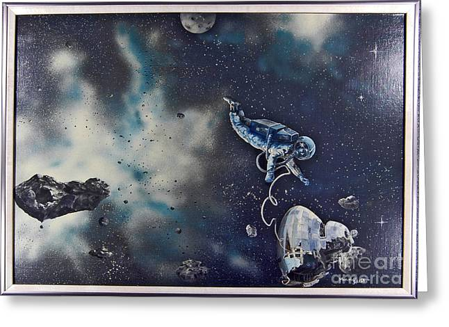 Cosmic Paintings Greeting Cards - Is Anybody out there Greeting Card by Murphy Elliott
