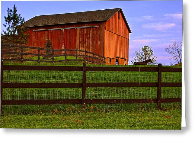 Hay Bales Greeting Cards - Is Every Barn Red Greeting Card by Frozen in Time Fine Art Photography
