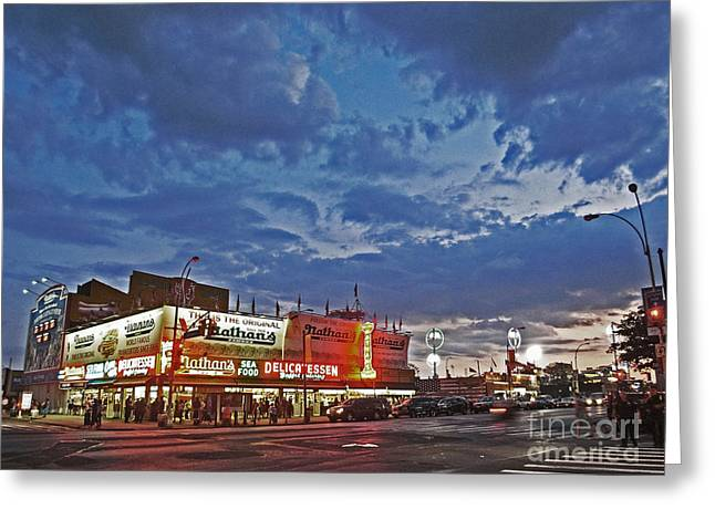 Shades Of Red Greeting Cards - Is the Sun Setting on Coney Island? Greeting Card by Andy Prendy