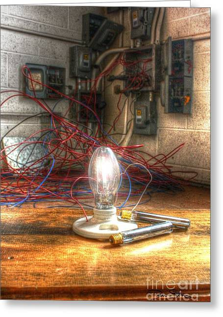 Fusebox Greeting Cards - Is This Right Mr. Edison? Greeting Card by Dan Stone