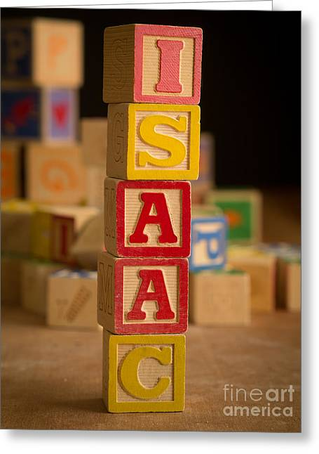 Isaac Greeting Cards - ISAAC - Alphabet Blocks Greeting Card by Edward Fielding