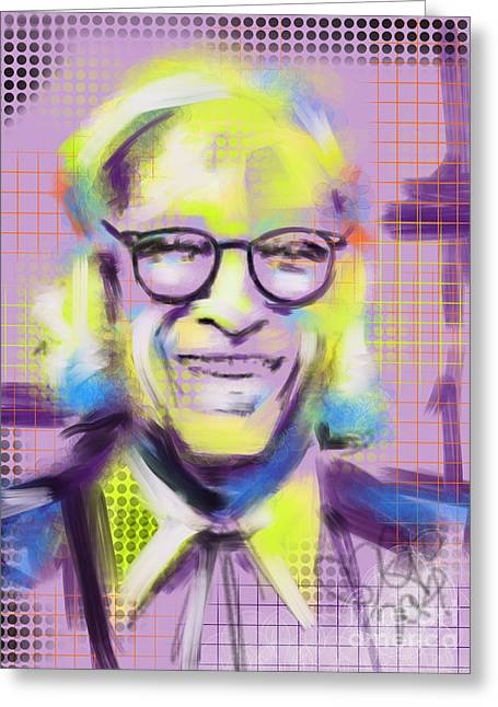 Celebs Greeting Cards - Isaac Asimov King of SF Greeting Card by Go Van Kampen