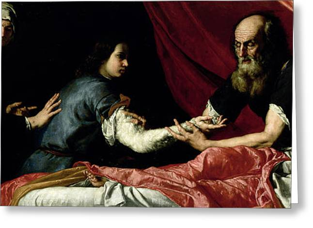 Blind Greeting Cards - Isaac Blessing Jacob, 1637 Oil On Canvas Greeting Card by Jusepe de Ribera