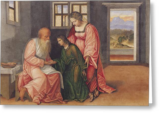 Patriarch Greeting Cards - Isaac Blessing Jacob Greeting Card by Girolamo da Treviso II