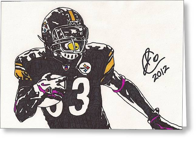 Steelers Drawings Greeting Cards - Isaac Redman 2 Greeting Card by Jeremiah Colley