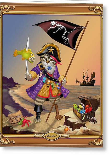 Recently Sold -  - Pirate Ships Greeting Cards - Isabell Greeting Card by Michelle Guillot