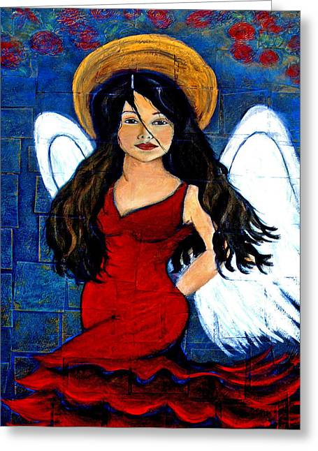 Charlotte Phillips Mixed Media Greeting Cards - Isabella  A Spanish Earth Angel From Cultures Around The World Greeting Card by The Art With A Heart By Charlotte Phillips