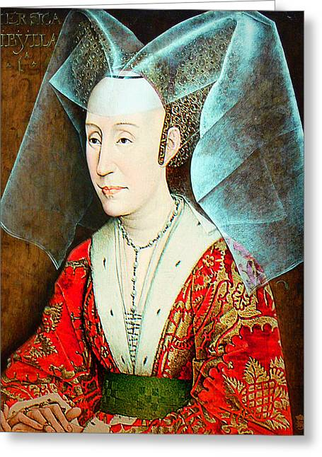 Isabella Of Portugal Greeting Cards - Isabella of Portugal 1397-1471 Greeting Card by Li   van Saathoff