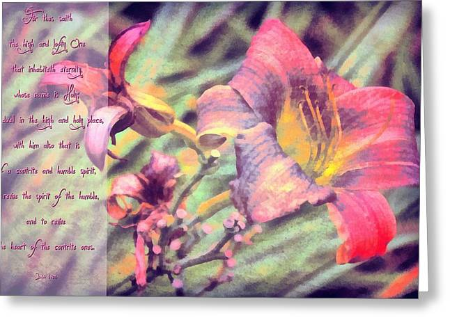 Dwell Greeting Cards - Isaiah 57 15 Greeting Card by Michelle Greene Wheeler