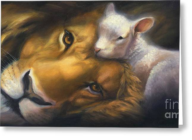 Lion Lamb Greeting Cards - Isaiah Greeting Card by Charice Cooper