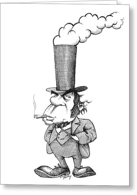 Black Top Greeting Cards - Isambard Kingdom Brunel, caricature Greeting Card by Science Photo Library