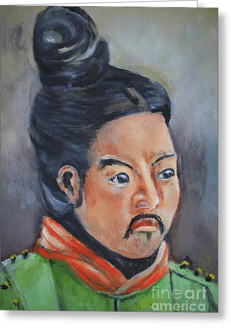 Chinese Portrait Greeting Cards - Isamu  Courageous Warrior Greeting Card by Cheryl Young