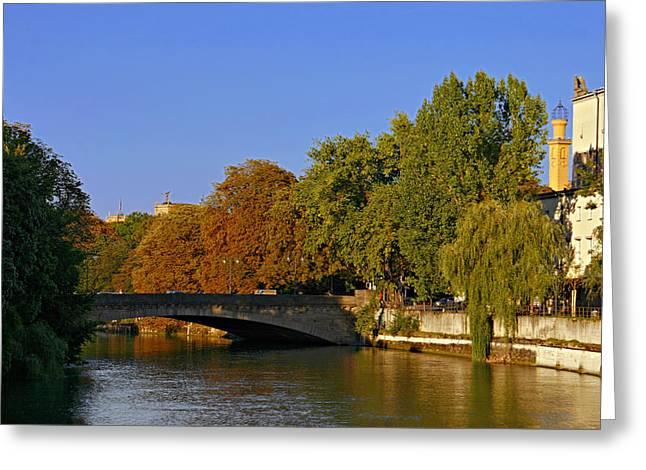 Isar River - Munich - Bavaria Greeting Card by Christine Till
