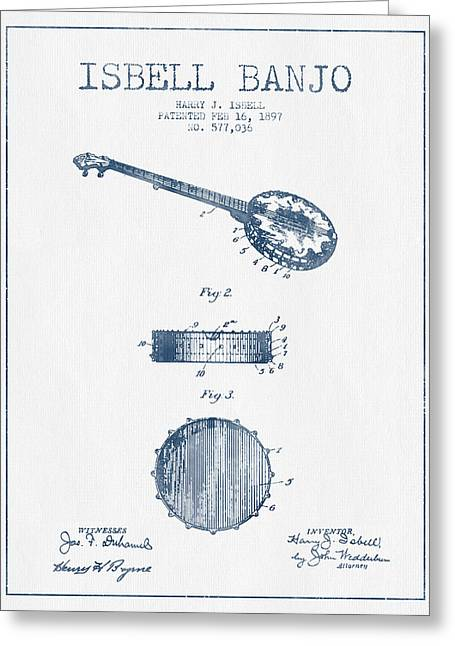Isbell Banjo Patent Drawing From 1897  - Blue Ink Greeting Card by Aged Pixel